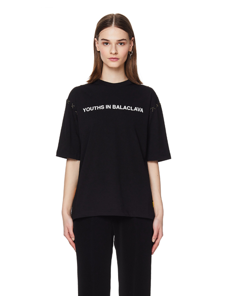 Youths in Balaclava Cotton Logo Printed T Shirt - Black