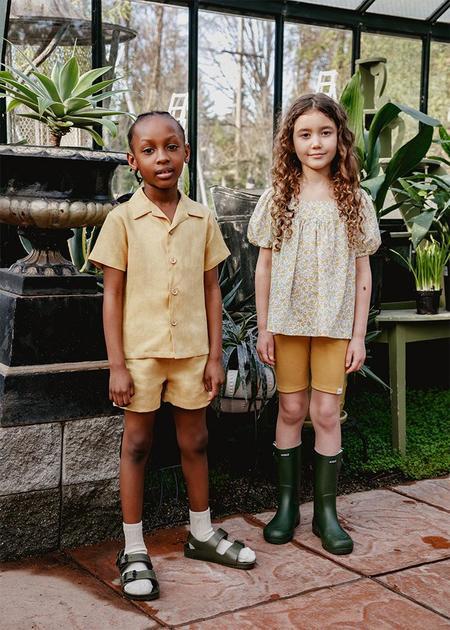 Kids Petits Vilains Adrien Aloha Shirt - Marigold