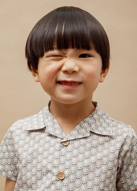 Kids Petits Vilains Adrien Aloha Shirt - Noble Geo Tan
