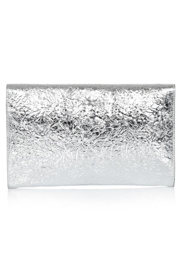 Flynn - Fergie Silver Leather Clutch