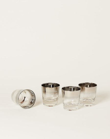 Vintage Set of Four Silver Ombré Cocktail Glasses