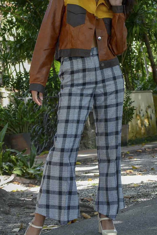 House of Sunny Slim Tailored Trousers - Everyday Check