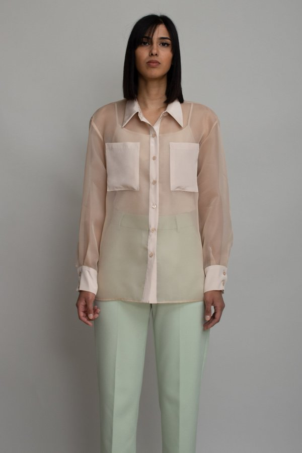 W A N T S Sheer Button Blouse - Beige