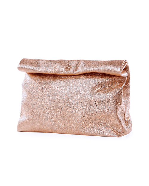 Marie Turnor Lunch Clutch in Apricot Foil Leather