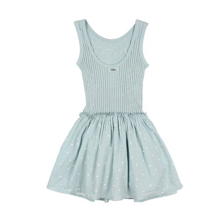 Búho Sara Rib and Crepe Dress in Misty Blue