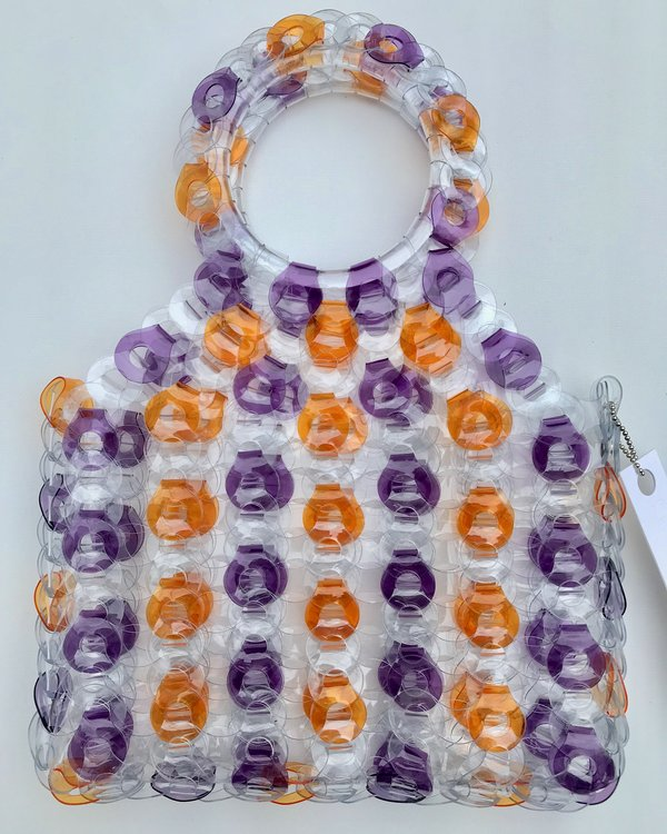 EE HANCRAFTED Large Square Vinyl Handbag - Purple/Orange Stripe