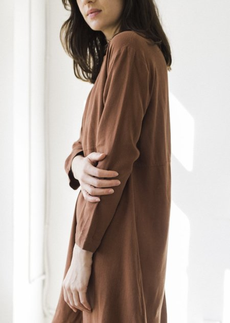 Me & Arrow Linen Mid Sleeve Basic Dress - Brown