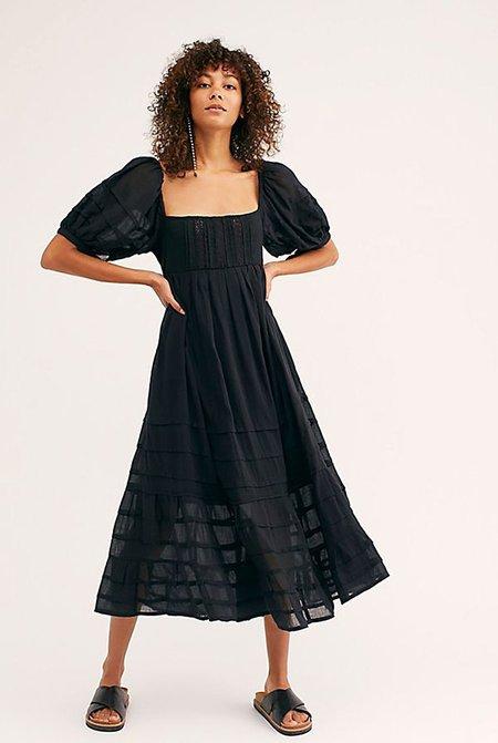 Free People Let's Be Friends Midi Dress - BLACK