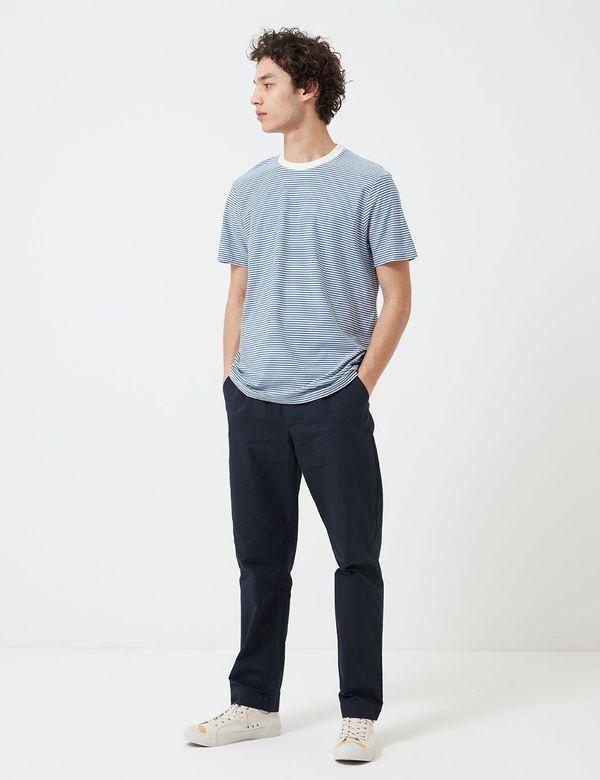 Folk Clothing Folk 1x1 Stripe T-Shirt - Woad/Ecru