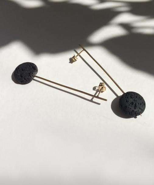 Baleen Black Lava Pendulum Drop Earrings