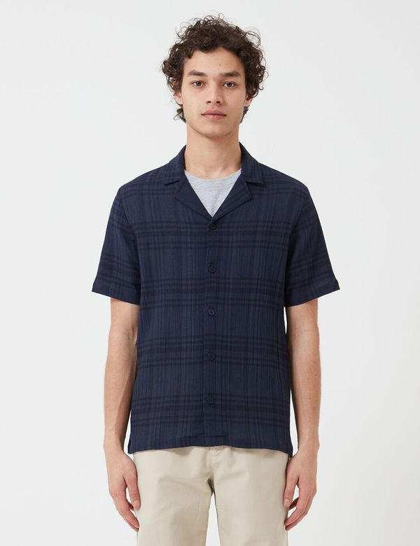 Folk Clothing Folk Soft Collar Shirt (Overdyed Crepe Check) - Navy Blue