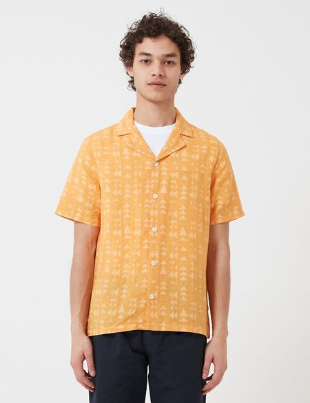 Folk Clothing Folk Soft Collar Shirt (Tile Print) - Marigold