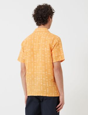 Folk Clothing Tile Print Soft Collar Shirt - Marigold