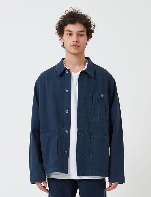 Nigel Cabourn Cotton Herringbone British Army Jacket  - NAVY BLUE