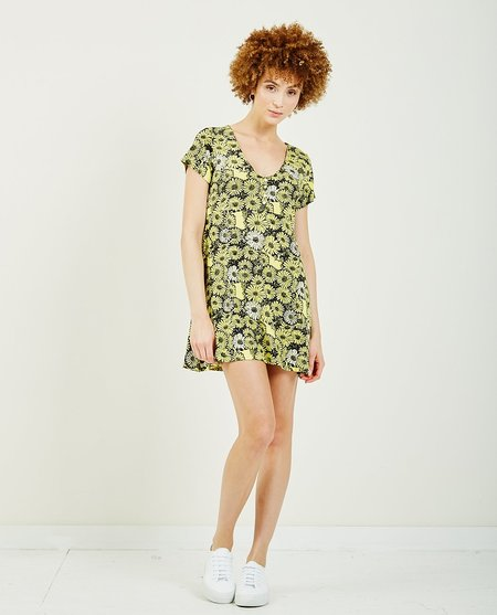 Obey Pedal Dress - Floral Yellow