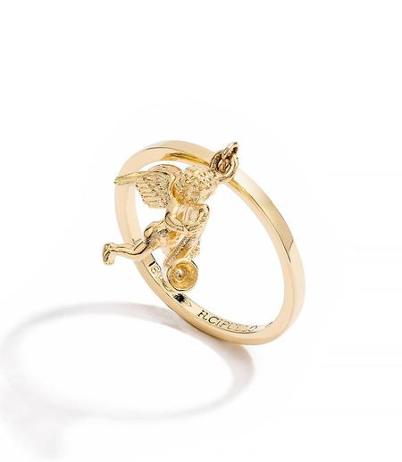 RENATO CIPULLO AMORE GIOTTO RING GOLD CHERUB CHARM STACKING RING