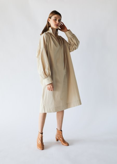 ARCH THE Open Collar Dress in Beige