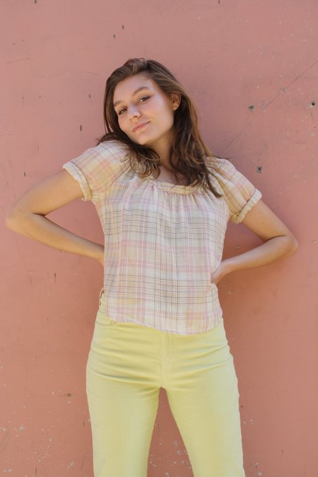 Myrtle Ann Blouse - Pink Plaid