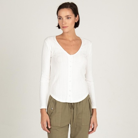 Monrow LONG SLEEVE V-NECK HENLEY - IVORY