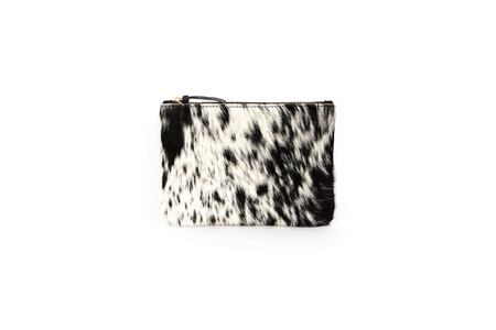 Primecut Cowhide Coin Purse with Wristlet - Salt and Pepper Cowhide