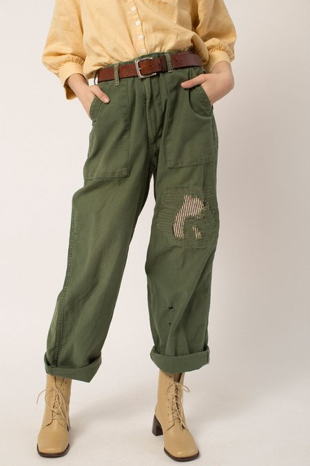 Vintage Patched Military Trousers - Green