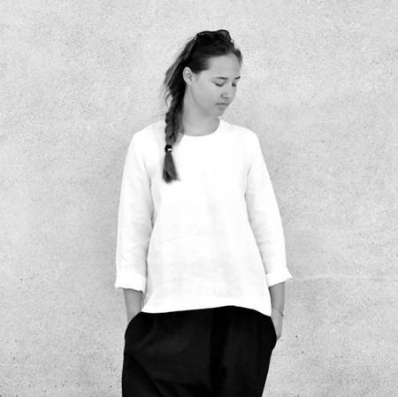 Le Vestiare de Jeanne Long Sleeved Blouse - White Linen