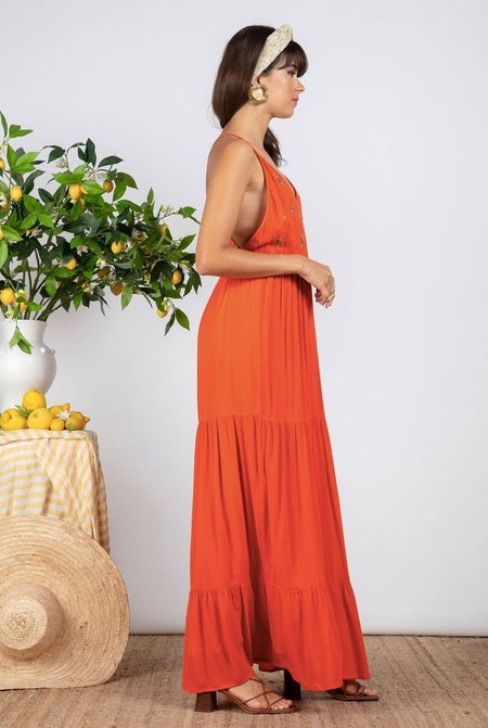 Sundress Claire Dress - Orange Sun Embroideries