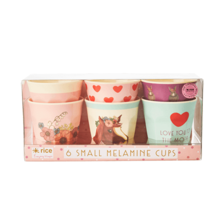 Rice 6 Small Cups in Assorted Farm Animal Print - Pink