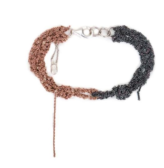 Arielle De Pinto Siamese Bracelet in Rose Gold & Midnight Sterling Silver