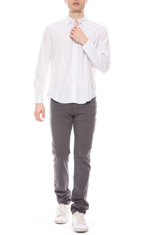 Frank & Eileen Finbar Cotton Windowpane Shirt - WHITE/BLACK