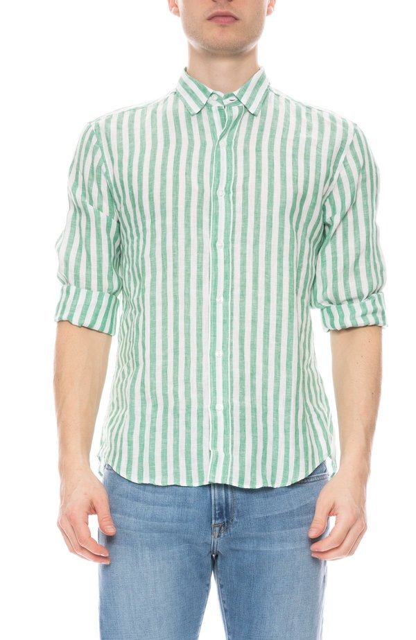 Frank & Eileen Finbar Linen Wide Stripe Shirt - GREEN/WHITE