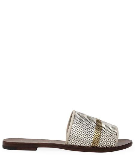 Madison Maiosn by Laura B Striped Flat Sandal - White