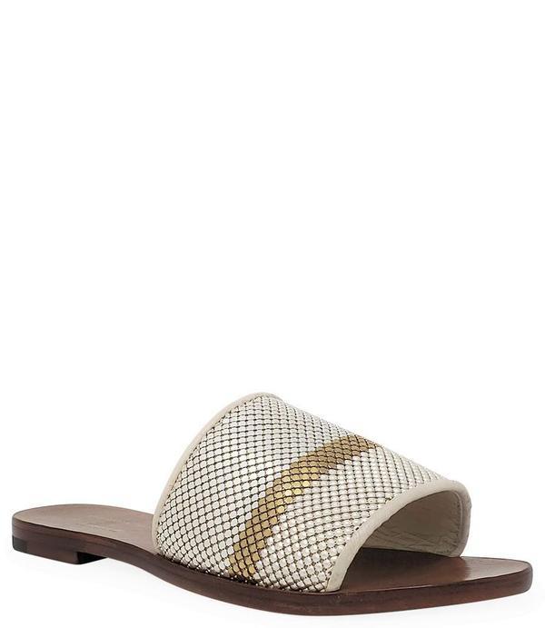 Madison Maison by Laura B Striped Flat Sandal - White