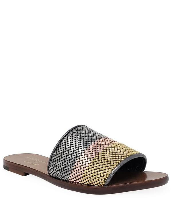 Madison Maison by Laura B. Striped Flat Sandal - Gold