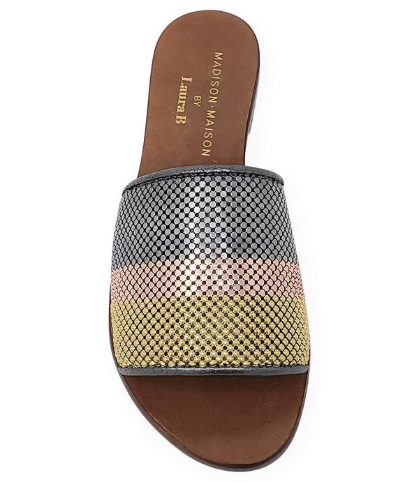 Madison Maison by Laura B. Striped Flat Sandal - Gold