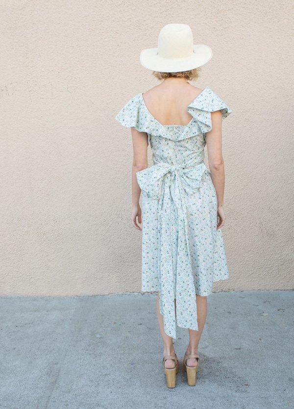 Batsheva Bow Dress - Blue Micro Floral