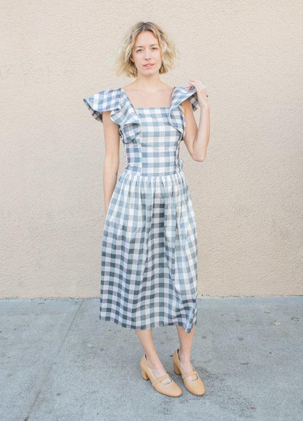 Batsheva Long Bow Dress - Grey/White Check