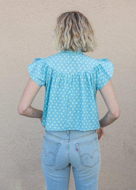 Batsheva Nightgown Top - blue daisy
