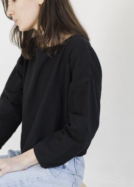 Me & Arrow Drop Shoulder Pullover - Black Washed Flannel
