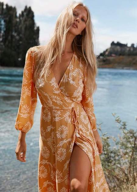 Beachgold Bali Cindy wrap dress - Yellow Flower
