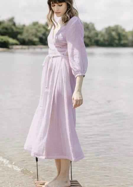 Voloshin Louisa midi wrap dress - lavender