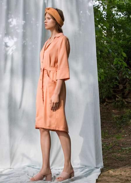 Eve Gravel Zenith button front dress - Peach