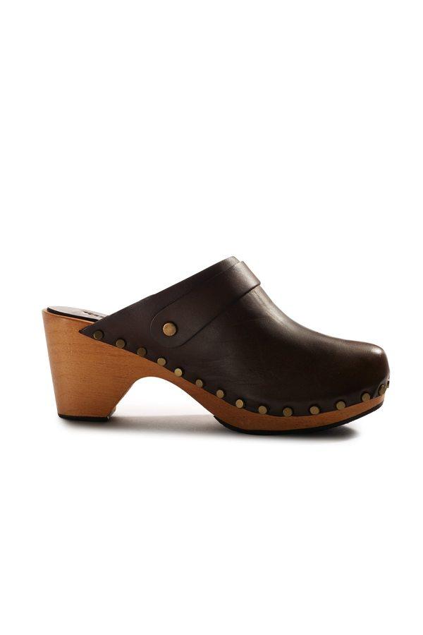 Lisa B. high heel leather clogs - dark brown