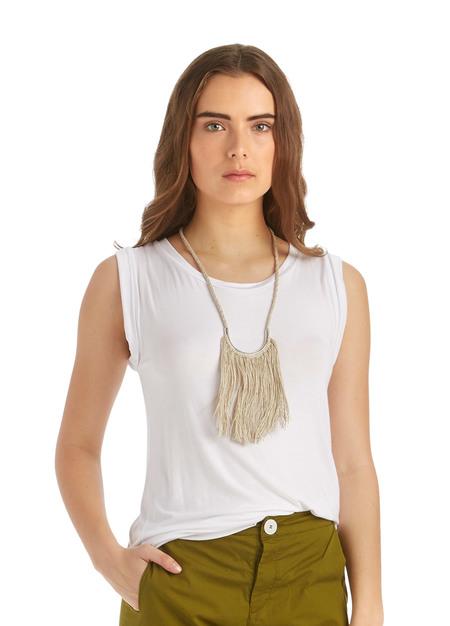Erin ConsidineLunate Fringe Necklace Silver