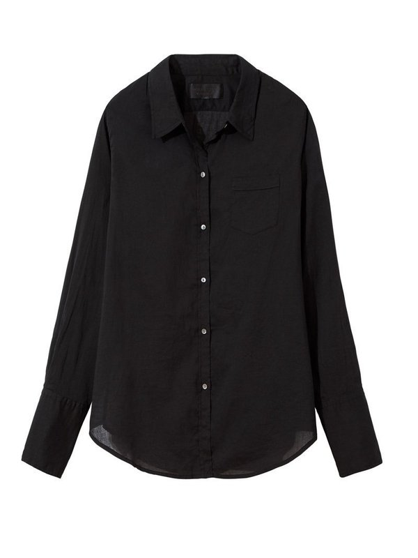 Nili Lotan Cotton Voile NL Shirt - Black