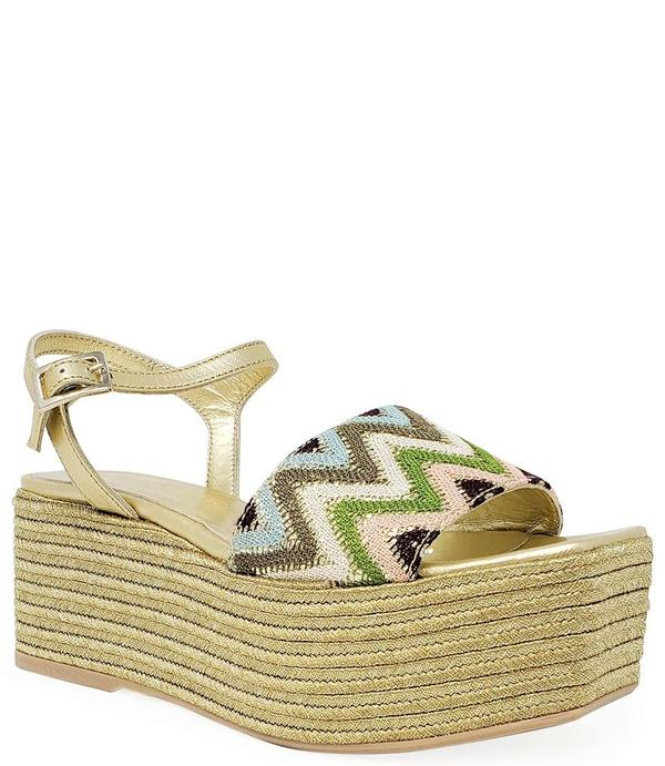 Madison Maison by Pablo Gilbert Woven Leather Wedge - Gold/Multi