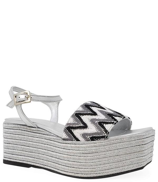 Madison Maison By Pablo Gilbert Woven Leather Wedge - Silver/Black/White