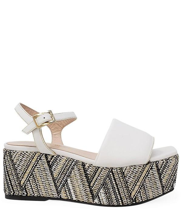 Madison Maison By Pablo Gilbert Woven Leather Wedge - White/Multi