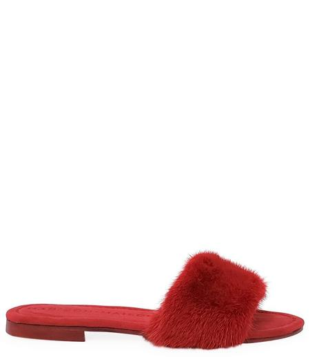 Madison Maison by Paola Martini Wide Band Fur Sandal - Red