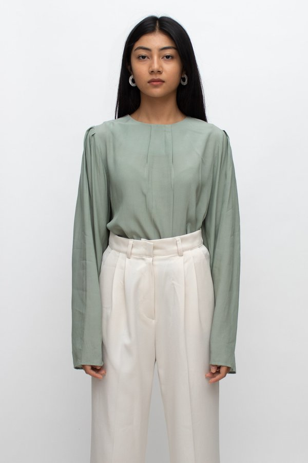 W A N T S Long Sleeves Blouse - Sage Green